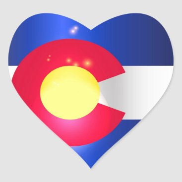 USA Themed Colorado State Flag Glow Heart Sticker