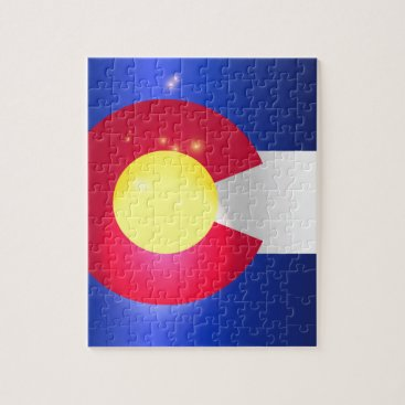 USA Themed Colorado State Flag Glow Jigsaw Puzzle
