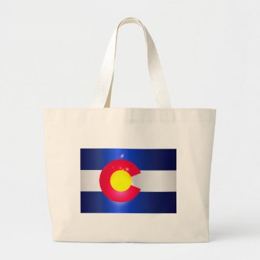 USA Themed Colorado State Flag Glow Large Tote Bag