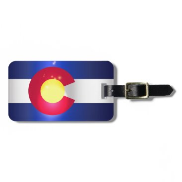 USA Themed Colorado State Flag Glow Luggage Tag