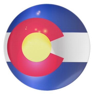 USA Themed Colorado State Flag Glow Melamine Plate