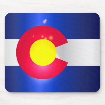 USA Themed Colorado State Flag Glow Mouse Pad
