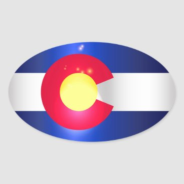 USA Themed Colorado State Flag Glow Oval Sticker