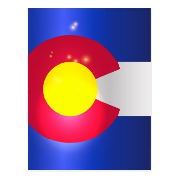 USA Themed Colorado State Flag Glow Postcard
