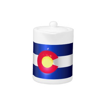 USA Themed Colorado State Flag Glow Teapot