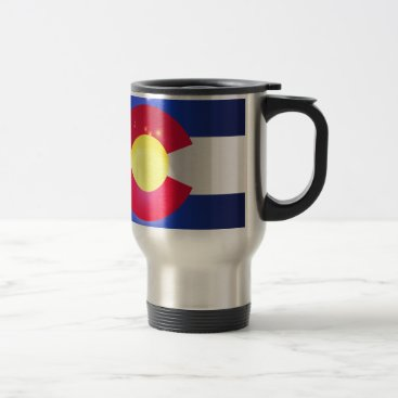 USA Themed Colorado State Flag Glow Travel Mug