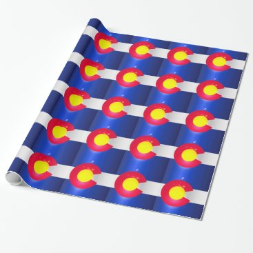 USA Themed Colorado State Flag Glow Wrapping Paper