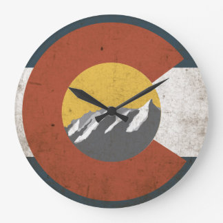 Colorado State Flag Grunge with Mountains Large Clock