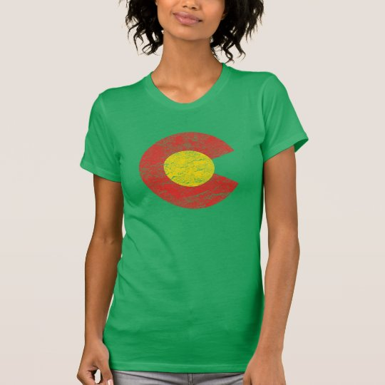 Colorado State Flag Kelly Green Grunge Denver Love T-Shirt