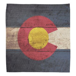 Colorado State Flag on Old Wood Grain Bandana