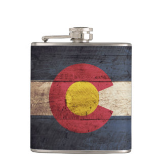 Colorado State Flag on Old Wood Grain Hip Flask