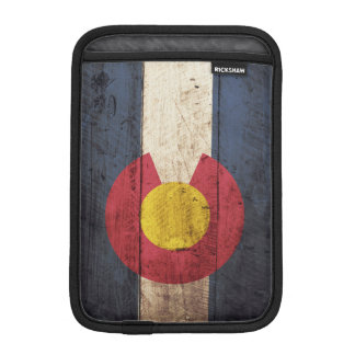 Colorado State Flag on Old Wood Grain iPad Mini Sleeve