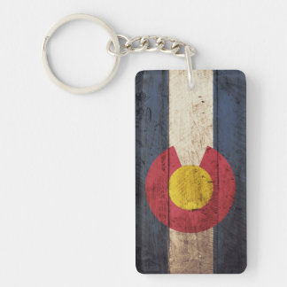 Colorado State Flag on Old Wood Grain Keychain
