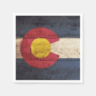 Colorado State Flag on Old Wood Grain Paper Napkin