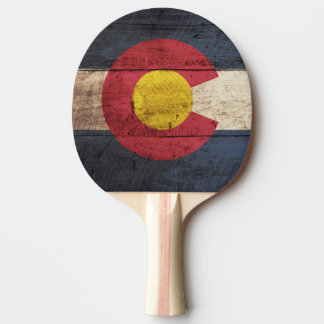 Colorado State Flag on Old Wood Grain Ping Pong Paddle