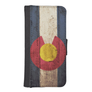Colorado State Flag on Old Wood Grain iPhone 5 Wallet Case
