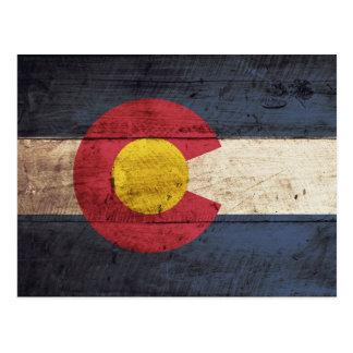 Colorado State Flag on Old Wood Grain Postcard