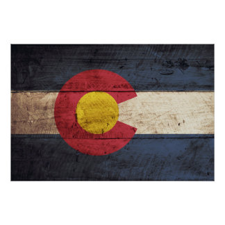 Colorado State Flag on Old Wood Grain Poster