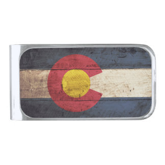 Colorado State Flag on Old Wood Grain Silver Finish Money Clip