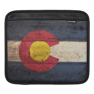 Colorado State Flag on Old Wood Grain Sleeve For iPads