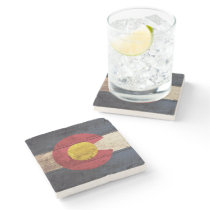 Colorado State Flag on Old Wood Grain Stone Coaster