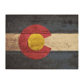 Colorado State Flag on Old Wood Grain Wood Wall Decor