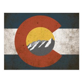 Colorado State Flag PostCard Grunge Mountains