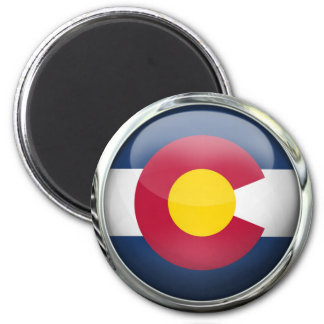 Colorado State Flag Round Glass Ball 2 Inch Round Magnet