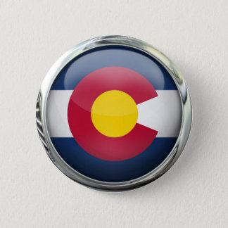 Colorado State Flag Round Glass Ball Pinback Button