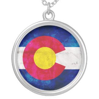 Colorado State Flag Round Pendant Necklace