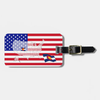 Colorado State Flag USA Map Vote luggage tag