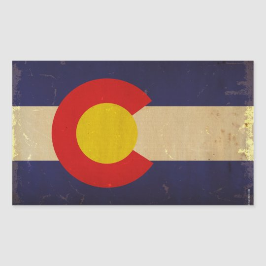 Colorado State Flag VINTAGE.png Rectangular Sticker