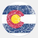 Colorado State Flag Vintage Round Stickers