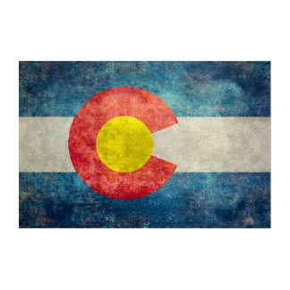 Colorado State flag with vintage retro grungy look Acrylic Wall Art