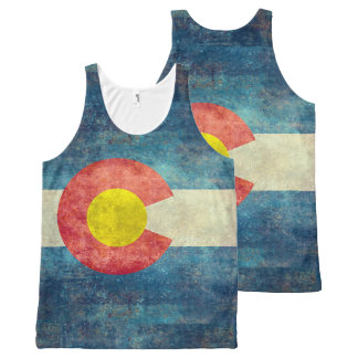 Colorado State flag with vintage retro grungy look All-Over-Print Tank Top