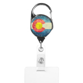Colorado State flag with vintage retro grungy look Badge Holder