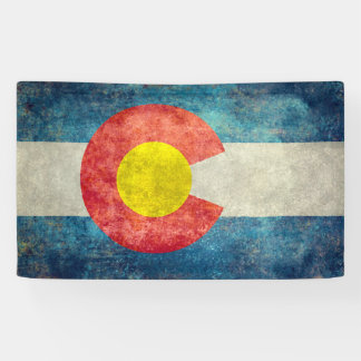 Colorado State flag with vintage retro grungy look Banner