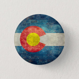 Colorado State flag with vintage retro grungy look Button