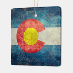 Colorado State Flag With Vintage Retro Grungy Look Ceramic Ornament at Zazzle
