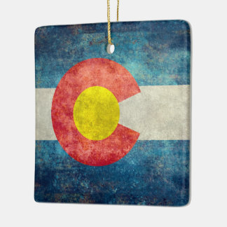Colorado State flag with vintage retro grungy look Ceramic Ornament