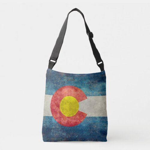 Colorado State flag with vintage retro grungy look Crossbody Bag
