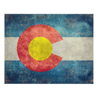 Colorado State flag with vintage retro grungy look Panel Wall Art