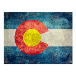 Colorado State flag with vintage retro grungy look Postcard