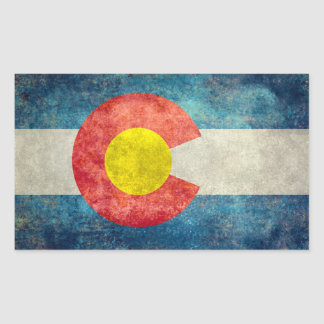 Colorado State flag with vintage retro grungy look Rectangular Sticker