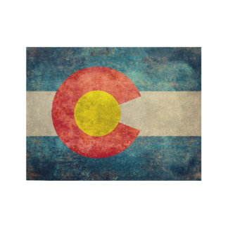 Colorado State flag with vintage retro grungy look Wood Poster