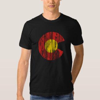 Colorado State Flag Wood Grain Denver Love T-Shirt