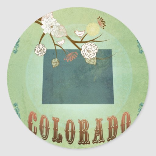 Colorado State Map – Green Classic Round Sticker