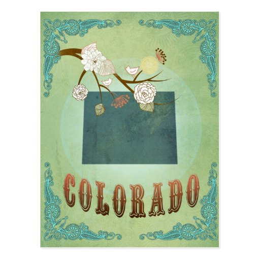 Colorado State Map – Green Post Card