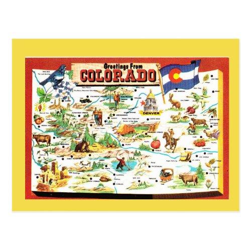 Colorado State Map Postcard
