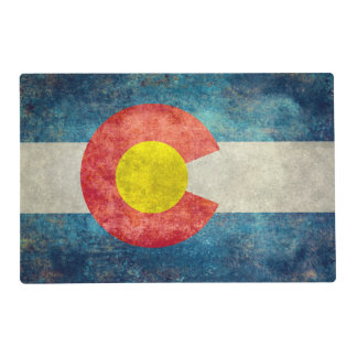 Colorado State & USA flag in vintage retro Placemat